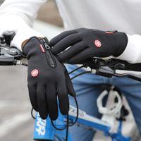 длинные черные мотоциклетные перчатки оптовых-Новый зимний открытый спорт Windstopper Водонепроницаемые перчатки Черные перчатки для верховой езды Перчатки для мотоциклистов с длинными пальцами Велоспорт Перчатки