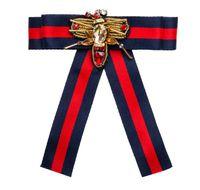 Wholesale Necktie Collar - 2018 Women Fashion Handmade Satin Ribbon Bow Tie Necktie Bow-knot Shirt Tie Clips Brooch Pins Shirts Collar Dragonfly Jewelry