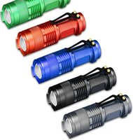 Wholesale zoomable diving torch - Mini LED Torch 7W Q5 LED Flashlight MINI Zoomable SOLARBEAM LED FlashLight Torch Light Lamp 5 Colors DDA99