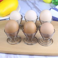 Wholesale boiling cup resale online - Spring Boiled Eggs Holder Stainless Steel Egg Poachers Wire Tray Egg Rack Cup Cooking Kitchen Tools WX9
