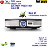Wholesale 3d hd video projector - 2018 New DLP WiFi High Brightness 7100Lumens LED Projector Full HD 1080P Android 6.0 3D Smart 4K Projector Free Shipping 2G+32G HDMI