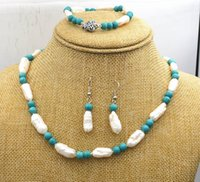 Wholesale fresh pearls set for sale - Group buy Hand knotted beautiful mm natural fresh water pearl mm turquoise necklace cm bracelet cm earrings set fashion jewelry