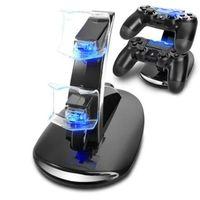 oyun kumandası standı toptan satış-Sony PS4 Playstation 4 oyunları için çift LED USB Şarj Kontrolörü Şarj Dock Standı İstasyonu konsolu Oyun joystick aksesuarla