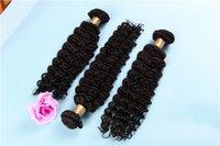 atkı insan saçı paketi toptan satış-100g Paket 300g Lot bakire Saç Demetleri Derin Dalga Kıvırcık Saç Atkı İnsan Saç Doğal Renk ile