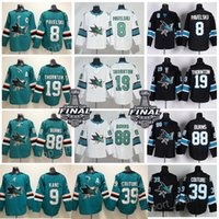 Wholesale flash full - San Jose Sharks Jersey Hockey 8 Joe Pavelski 19 Joe Thornton 39 Logan Couture 88 Brent Burns 9 Evander Kane Hertl Jones AD Green Black Men