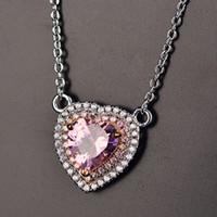 rosa diamant herz anhänger halskette großhandel-Rosa Herzanhänger Tanabata Gift S925 Halskette mit Zirkondiamant