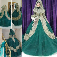 Wholesale red muslim wedding dresses hijab online - Hunter Green And Gold Lace Muslim Ball Gown Wedding Dresses High Collar Long Sleeves Floor Length Hijab Veil Plus Size Arabic Bridal Gowns