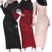 abayas modernos al por mayor-Musulmán Arrugado Falda Lápiz Vestido Maxi Manga Trompeta Abaya Túnicas Largas Oriente Medio Ramadán Árabe Islámico Ropa