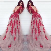 Wholesale Fabulous Evening Gowns - Fabulous Sheer Keyhole Backless Red Appliqued Evening Gowns Arabic Dubai Styles A Line Illusion Long Sleeves Formal Celebrity Party Prom