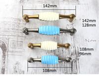 ingrosso manopole in ceramica blu-pomello in ceramica creativa maniglia per mobili ottone anticato blu bianco ceramica scarpiera gabinetto orecchino tiri pull