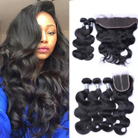 Wholesale brazilian straight perm - Brazilian Virgin Hair 3 Bundles with Lace Frontal Closure Straight Human Hair Body Wave Peruvian Hair Bundles with Closure