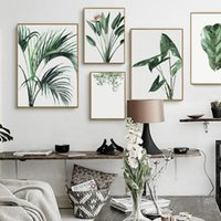 Wholesale office decor paintings for sale - Group buy Watercolor Green Plants Leaves Canvas Paintings Nordic Scandinavian Office Wall Art Poster Picture for Living Room Home Decor