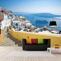 mittelmeer-tapete großhandel-Griechische Ägäis Tapeten Mediterranean Style Mural Wohnzimmer Schlafzimmer TV Wallpaper Persönlichkeit Mode Wallpaper 3d