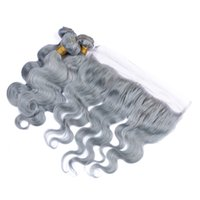 cierre de tejido de plata al por mayor-Peruvian Grey Hair Weave 3 Bundles con 13x4 Lace Frontal Closure Silver Grey Virgin Extensiones de cabello con cierre Pure Grey Body Wave ondulado