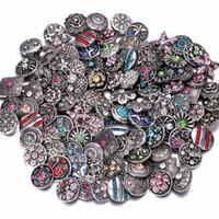 metalik elmas taklidi düğmeler toptan satış-Snap düğmesi 18mm takı Rhinestone Düğmeler 18mm Karışık Yuvarlak Metal Rhinestone Yapış Düğmeler Fit Yapış Bilezik Bilezik Kolye