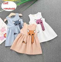 ratón de dibujos animados al por mayor-Baby Girl vestido de la historieta Kids Girl Summer vestido sin mangas Cat estilo del ratón Infant Candy Colot Dress