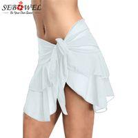 weiße sexy bikiniböden großhandel-SEBOWEL Sexy Weiß / Schwarz Rüschen Mesh Mini Rock Frauen 2018 Seitliche Krawatte Umkleidet Hipster Bikini Bottoms Biquini Parte Minderwertigen Rock