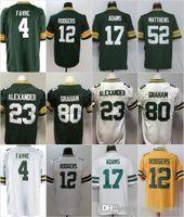 camiseta de fútbol juvenil verde al por mayor-12 Aaron Rodgers Jersey Packers con el parche de 100 temporadas 17 Davante Adams 4 Brett Favre 52 Clay Matthews Green Bays Fútbol Hombres Mujeres Jóvenes