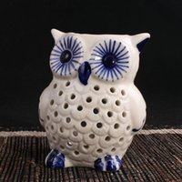 Wholesale Fragrance Warmers - New Ceramic Owl Burner Warmer Essential Burner Air Freshener Holder Aromatherapy Fragrance Container Candle Essential Gift
