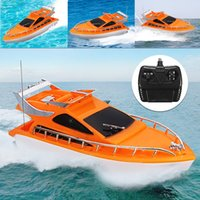 Wholesale Plastic Boats - Orange Mini RC Boats Plastic Electric Remote Control Speed Boat Kid Chirdren Toy 26x7.5x9cm