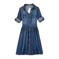 Wholesale high quality plus clothing for sale - high quality autumn denim dress clothing plus size women Jeans dress elegant spring slim cowboy casual Dresses vestidos D1891305