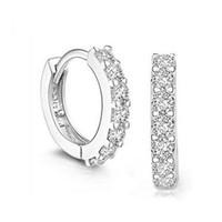 ingrosso una fila-intera venditaArgento una fila di cristallo orecchini a cerchio con strass per le donne Bijoux Ear Cuff Accessorio di nozze Earing migliore regalo