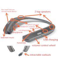 Wholesale Chip Speaker - super bass 4pieces speakers handsfree retractable earbuds 900mAh battery CSR8635 chip newest neckband wireless bluetooth headphones earphone