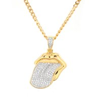 Wholesale desire gold - New Micro Paved Cubic Zirconia Tongue Charm Necklace Copper WHAT YOU DESIRE SHOW IT Jewelry Mens Hip Hop colgantes Jewelry