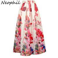 faldas largas hasta la cintura al por mayor-Neophil Ladies Maxi Long Skirts cintura alta negro blanco Lily Flower Floral impreso piso plisado longitud 100 cm Jupe Longue MS07069