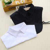 Wholesale white false collar - Wholesale- Hot Sale Vintage Detachable Collars Cotton Buttons Lady Lapel False Collar Black White Fake Collar Shirt Women