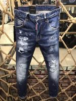 Wholesale Mens Skinny Denim Shorts - Men's Distressed Ripped Skinny Fashion Designer Shorts Slim Motorcycle Moto Biker Causal Mens Denim Pants Hip Hop Jeans 9191