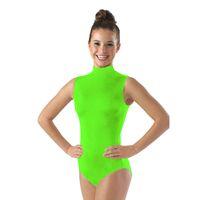 Wholesale Gymnastic Costumes - Ensnovo Women Dance Costumes Dancewear Gymnastics Leotards for Girls Lycra Nylon Face Bodysuit for Women Black Sleeveless Suits