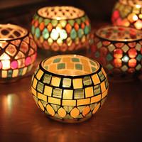 gafas de decoración para el hogar al por mayor-Spherical Glass Candle Holders Mosaic Crack Candlestick Home Decor Dinner Wedding Party Gifts Bar Decoración Sin Vela WX9-313