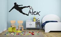 erkek çocuk çıkartmaları toptan satış-Futbol Futbol Topu Kişiselleştirilmiş Isim Vinil Duvar Çıkartması Duvar Sticker için Çocuk Boys Yatak Odası ev Dekorasyon
