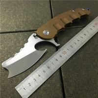 cuchillos de caza de acero d2 al por mayor-Behemoth Bestia Gigante Cuchillo Plegable Flipper Maquinilla D2 Hoja Desert Steel Handle Tactical Gear Cuchillos de Caza Regalo para Hombres Herramienta EDC