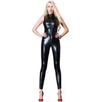 traje de cuero rojo negro al por mayor-Talla grande XXL Sexy PVC Cremallera de cuero Body sin mangas Catsuit Negro Rojo Plata Dorado Wetlook Clubwear Racing Girl Costume