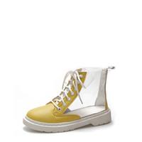 bottes compensées à la cheville achat en gros de-2018 Automne Femelle Coloré Transparent Clair Bottes plates pour femmes Lace Up Bottines Femmes personnalité plate-forme bottes