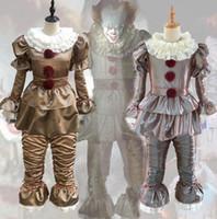 vestido asustadizo al por mayor-Stephen King IT Halloween El payaso Cosplay de Pennywise Traje asustadizo Traje de lujo Vestido Fiesta Cosplay Suministros OOA5746