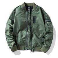 uniformes del ejército al por mayor-2018 Hombres Bomber Flight Pilot Jacket Coat Thin Navy Flying Chaqueta Militar de la Fuerza Aérea Bordado Uniforme de Béisbol Ejército Verde Negro Chaqueta