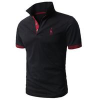 erkekler moda gündelik gömlek tasarımı toptan satış-Erkekler 'S Moda Rahat Polo Gömlek Kişilik Zürafa Nakış Tasarım Kısa Kollu Üstleri Tee Lüks Polo
