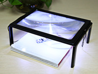 4 LED Lights Foldable Desk A4 Full Page Large Reading Hands Free 3X Magnifier for Reading 3X Foldable Loupe Hands Free for Reading VB