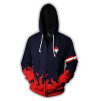 Wholesale 5xl zip hoodie - 2018 new fashion Cool sweatshirt Hoodies Men women 3D print NARUTO UCHIHA CLAN ZIP UP hot Style Streetwear Long sleeve