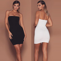 Wholesale Strap Tight Skirts - The New Style Sexy Straps Skirt for Summer Women Tight Bodycon Party Dress Black White RF1089