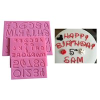 Wholesale alphabet silicone mould - New Cartoon Font Capital Lowercase Letter Number Mold Fondant Silicone Mould Alphabet Molds Desing Cupcake Cake Decorating Tools