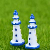 Wholesale make fairy accessories resale online - Mini Mediterranean Style White Blue Lighthouse Moss Terrarium Hand made Aquatic Ornament Micro Landscape Accessories Fairy Garden DIY ZAKKA