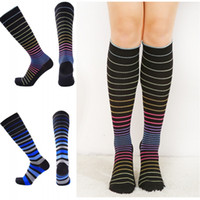 Wholesale warm thigh high stockings - Women Striped Thigh High Stockings Knee Socks Warm Long Socks Compression Stocking Christmas Socks Winter Autumn Free DHL G499S
