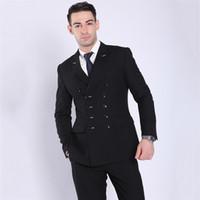 ingrosso black pants navy blue blazer-TOTURN 2018 Moda Uomo Abiti Nero Blu Navy Giacca a doppio petto Pantalone maschile Casual Blazer Business Coat Costume formale