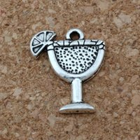 mikrofon tasarımı toptan satış-MIC. 200 adet / grup Antiqued Gümüş Alaşım Tek taraflı tasarım Margarita İçecek kupası Charm 14x17 MM DIY Takı A-149