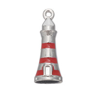 Wholesale lighthouse charms - Top Quality Rhodium Plated Red Nautical Beacon Charms Alloy Enamel Lighthouse Pendant Charms 50pcs AAC846