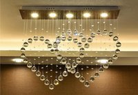 Wholesale led heart chandelier - Free shipping Modern minimalist LED double heart crystal lamp chandelier lamp bedroom bar restaurant heart-shaped pendant lamp LLFA